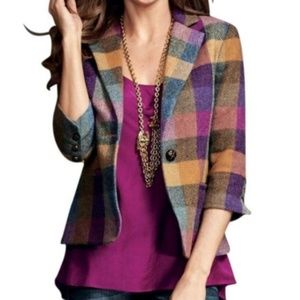 CAbi Happy Plaid Wool Blazer Jacket #927 Sz 16
